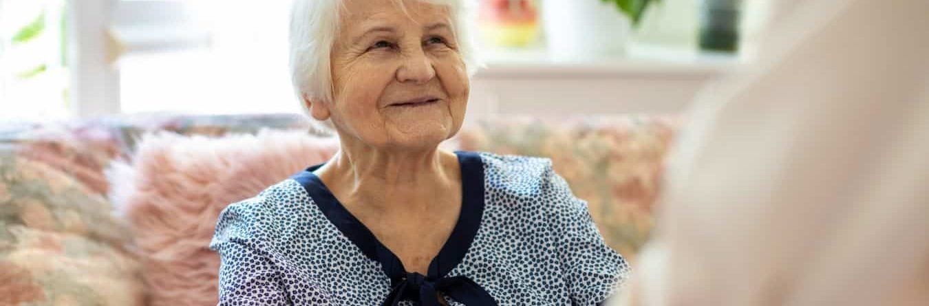 smiling senior patient at home